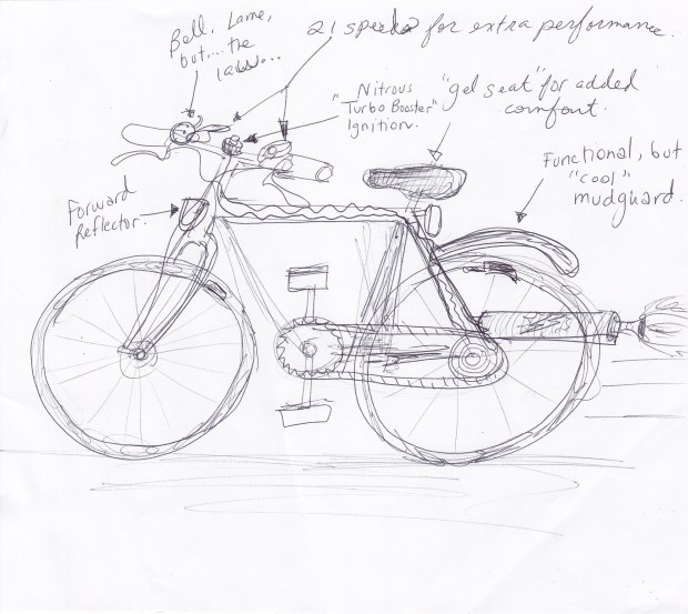 Not great, I know - but again, this was about speed and accuracy, not art.  Once I was done with the bike, I made a few improvements.